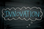 The word 'Innovation' written on a chalkboard