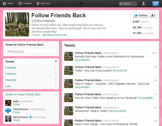 Follow Friends Back - Twitter Profile