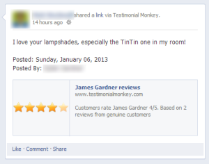 Testimonial Monkey's Facebook integration in action.